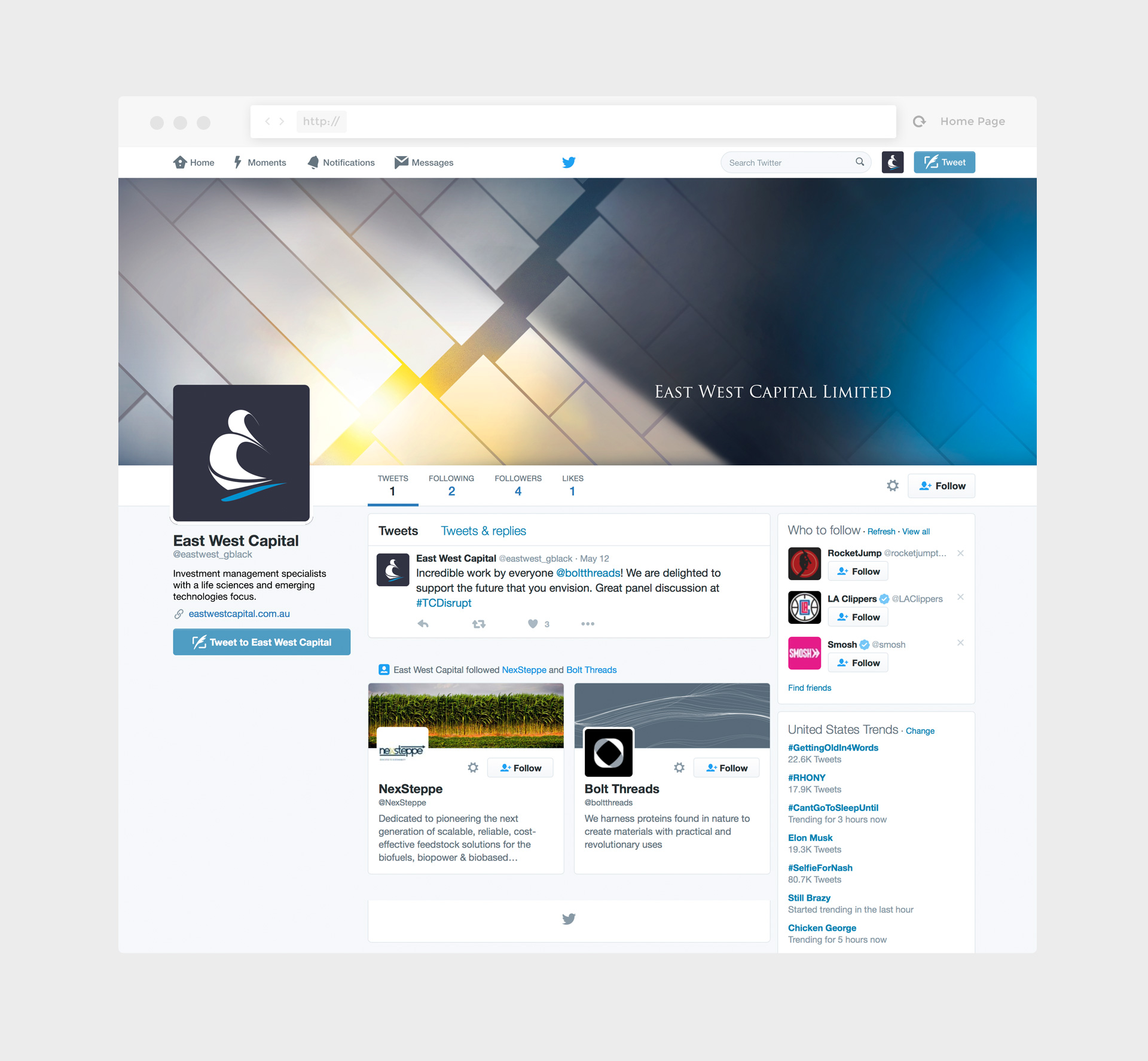 East West Capital Twitter Profile